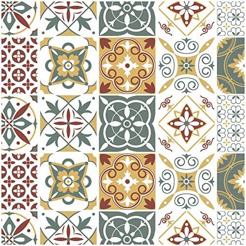 Yabaduu 10 unidades de adhesivos para azulejos de cocina o baño, diseño de mosaico, azulejos de pared, lámina decorativa autoadhesiva Y041 (Lisboa, 20 x 20 cm)