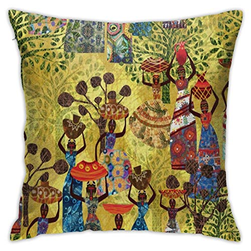 Women of Africa A Tapestry of Life Square Decorative Chair Cushion Covers, Interior Decor, 18 x 18 Inches
