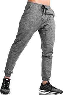 KEFITEVD Men's Cotton Running Trousers Casual Sport Joggers Pants with Zipper Pockets