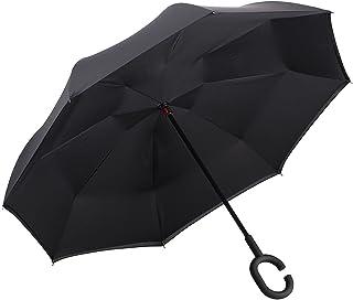 ALINK Inverted Umbrella, Reverse Folding Double Layer Inside Out Outdoor Rain Away Car Umbrella - Black