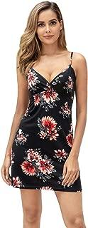 Abollria Women's Summer Sleeveless Adjustable Strap Beach Dresses Short Casual Floral Dress Cotton Sleep Dress Nightshirts