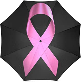 Breast Cancer Awareness Pink Ribbon Compact Foldable Rainproof Windproof Travel Umbrella