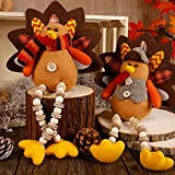 Biswing Thanksgiving Decoration Tabletop Standing Turkey Couple with Dangling Legs, 2 Pack Plush Stuffed Turkeys Shelf Sitters Figurine Gift for Autumn Fall Harvest Halloween Home Table Decorations
