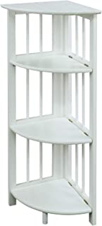 Casual Home 315-11 4-Shelf Corner Folding Bookcase, White