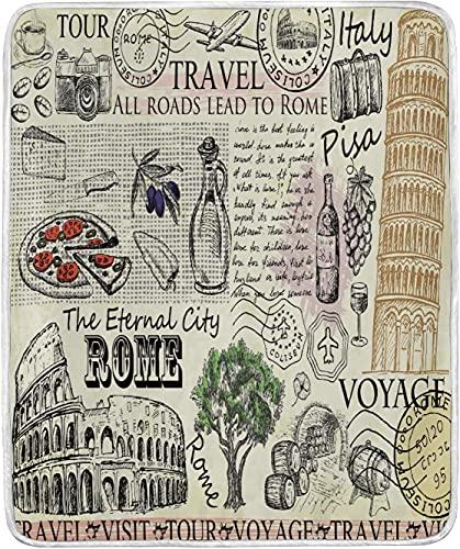 Funda de almohada estándar | Fundas de almohada decorativas de dibujos animados vintage Roma Italia con Coliseo y Torre de Pisa estilo periódico-45,7 x 45,7 cm