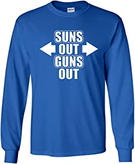 Long Sleeve Adult T-Shirt Suns Out Guns Out Gym Workout