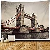 Tapiz Tapices de pared,Arquitectura de estilo Tower Bridge Inglaterra Reino Unido Majestuoso Artístico Hermoso Puente levadizo Monumentos Tapiz para dormitorio-80_x_60_inches