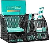 MaxGear Mesh Desk Organizer Office Desktop Organizer with Drawer, Metal Stationary Organizer Black Desk Caddy, 6 Compartments, 8.7 x 5.5 x 5 inch, 1 Pack