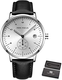 ساعة يد رجالي من GoolRC بحزام جلدي مع حركة كوارتز 30 متر مقاوم للماء ومناسب للعمل والحياة اليومية (صندوق معبأ في العبوة)