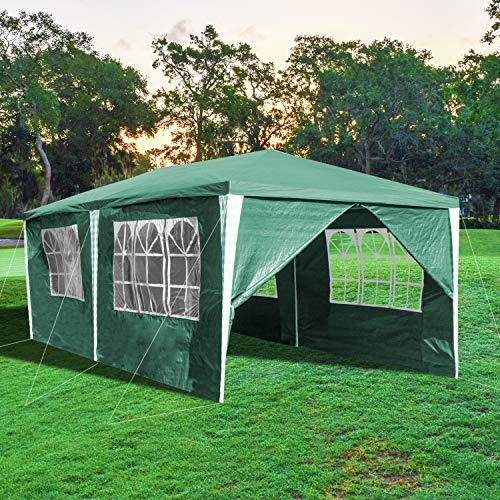 wolketon Carpa Jardin Cenador 3x6m Carpas con 6 Laterales Impermeables Gazebo Protección UV Pabellón de Jardín para Fiestas, Bodas, Camping, al Aire Libre, Verde