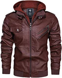 Mens Casual Business Long Sleeve Slim Hood Faux Leather Jacket