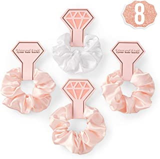 xo, Fetti Bachelorette Party Hair Tie - 8 Satin Scrunchies | Rose Gold Bridal Shower Gift Decorations, Bride Tribe Favor, To Have and To Hold