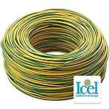 ICEL einpoliges Kabel Kupfer 1,5 2,5 4 6 mm CPR Fs17 für Hausinstallationen, Gelb Grün, 6 mm