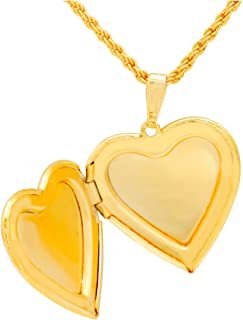 Memoir 24KT Gold Plated Heart Shaped Openable Photo Locket with Chain Pendant Jewellery for Women & Men