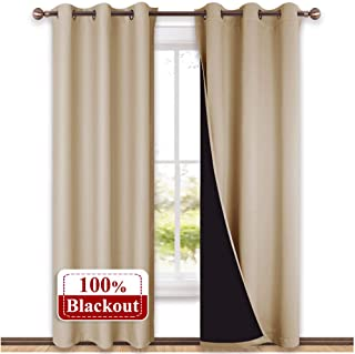 NICETOWN Living Room Completely Shaded Draperies, Privacy Protection & Noise Reducing Black Lined Insulated Window Treatment Curtain Panels for Patio Door (Set of 2 PCs, W42 x L84, Biscotti Beige)