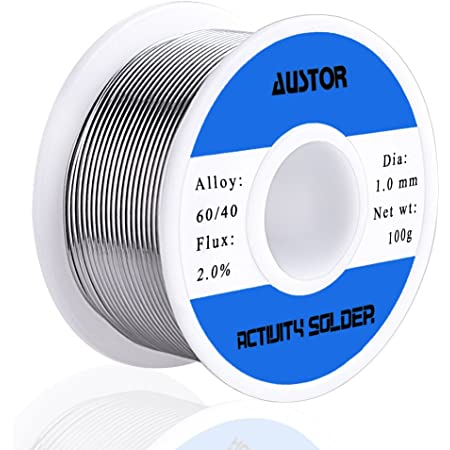 AUSTOR 60-40 Tin Lead Rosin Core Solder Wire for Electrical Soldering (100g, 1.0mm)