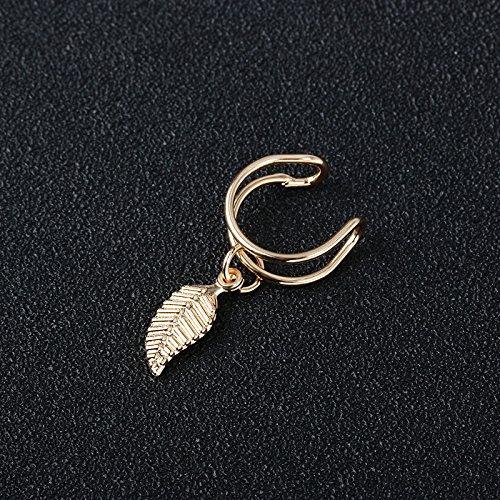 GUOQUN-SHOP Conjunto Pendiente del Clip de la Hoja de Oro de la Moda para Las Mujeres sin pevering Puck Rock Vintage Crystal Ear Puños Niñas Regalos Jewerly de Oreja para Mujer (Metal Color : 12)