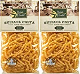 Papa Vince Clean Pasta Sensitive Stomach - made with wheat from Sicily, Italy | NON GMO | WHOLE GRAIN | NO ENRICHED | LOW ACID | AL DENTE Busiate macaroni holds sauce like a magnet (1.1 lb 2-Pack)