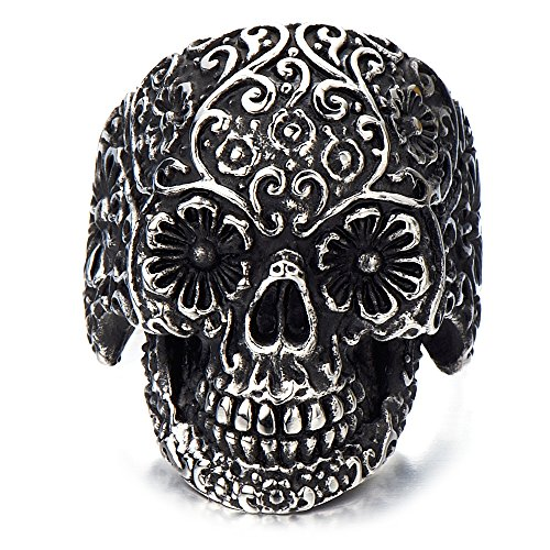 H+C Stainless Steel Mens Gothic Biker Jewelry Sugar Skull Ring Oxidized...