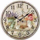 Telisha diseño Retro Reloj de Pared Grande Jaula de pájaros de Lavanda florero hogar Decorativo Reloj de Pared de Madera 34cm 13,4'