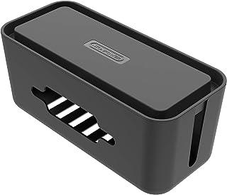 Caja Cables para Regletas Enchufes- NTONPOWER Caja Para Cables de Plástico ABS con Pies de Goma, Caja Organizadora Cables Grande, 430 x 180 x 160 mm, Negro
