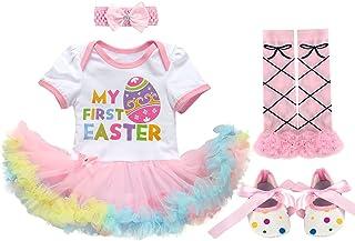 4PCS Vestito Neonato Prima 1a Pasqua Abiti Set Uova Coniglio tutù Pagliaccetto Dress+Fascia+Leggings Scaldamuscoli+Scarpe ...