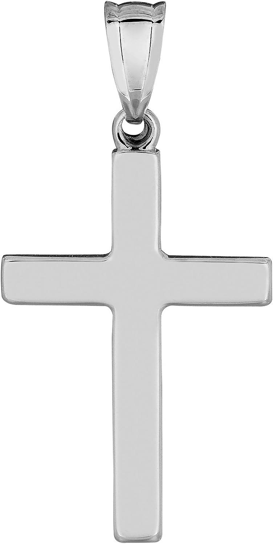 14k White Gold Shiny Square Cross Pendant