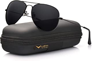 LUENX Aviator Sunglasses for Men Polarized - UV 400 Protection with case 60MM Classic Style
