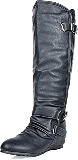 Women's Knee High Low Hidden Wedge Boots (Wide-Calf)