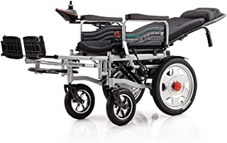 Deluxe Foldable Electric Wheelchair,Dual Motor/Can Lie Flat/Detachable Headrest/with Handbrake/Handrail Lift/Detachable Pedal,Black,12Ahlithiumbattery