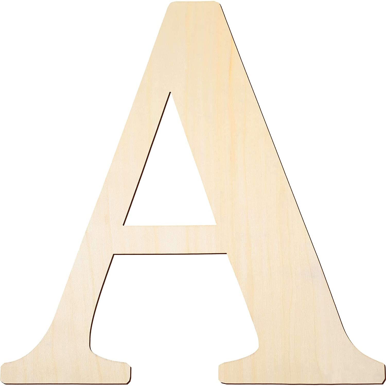 12 Inch Unfinished Wooden Letters Wood Letters Sign Decoration Wooden Decoration for Painting, Craft and Home Wall Decoration (Letter A)