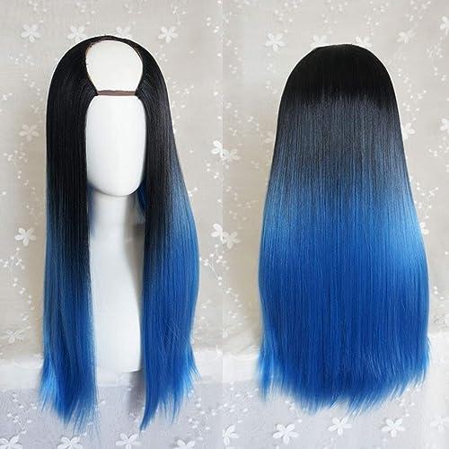ZLLAN Harajuku Lange Fluffy Silk U-f ige Perücken HitzeBeste ige Kunstfaser Gradient Dark Roots Haar für Cosplay 26inches   6cm Perücke (Farbe   F)