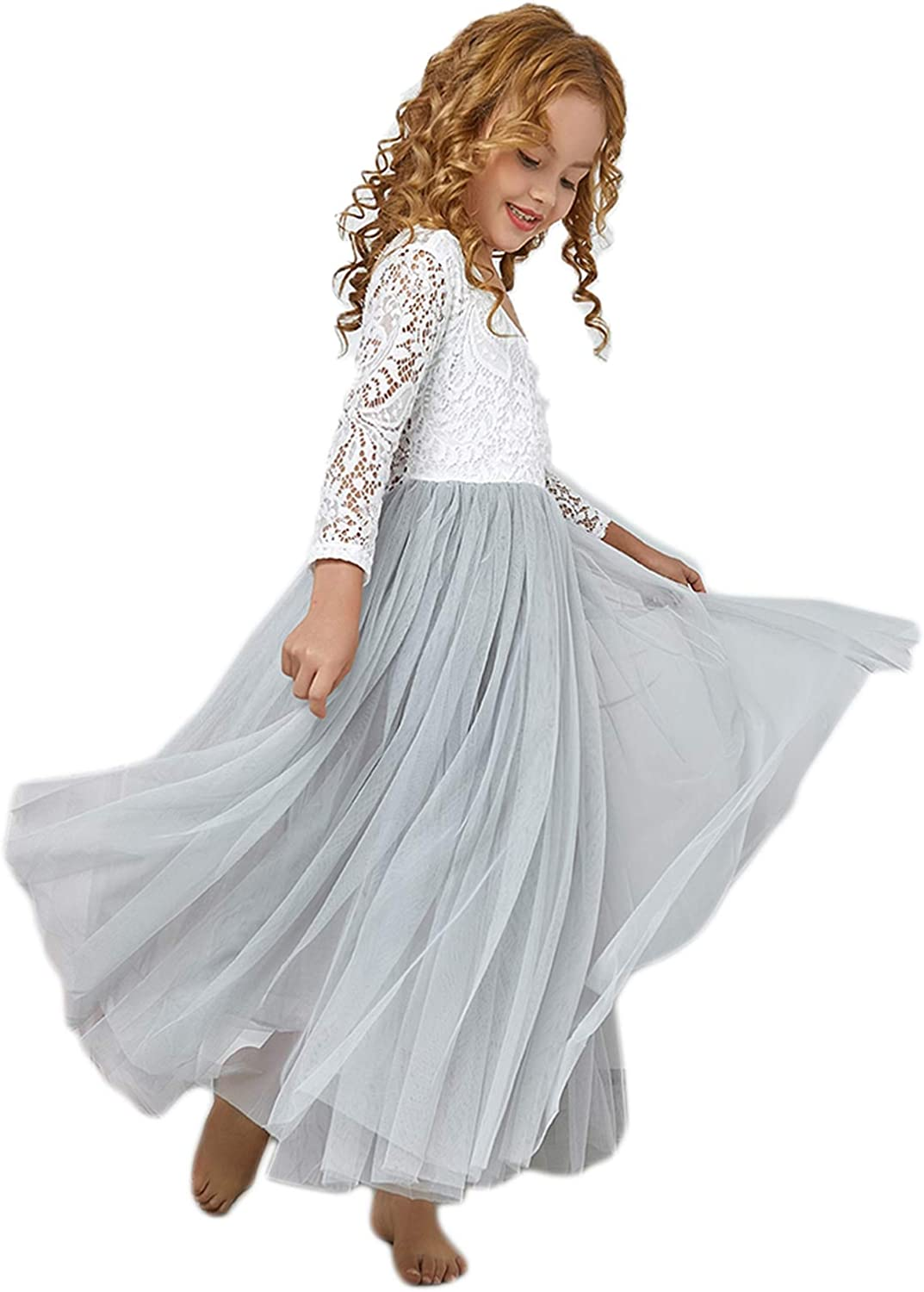 Cocoyeye Flower Girls Challenge the lowest Oakland Mall price of Japan Lace Sleeves Dresses E Toddler Wedding for