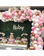 GuassLee Rosa ballongbåge girlang kit – 124 delar vitt rosa guld och guld konfetti latexballonger för baby shower bröllop födelsedag examen jubileum ungmö fest bakgrundsdekorationer