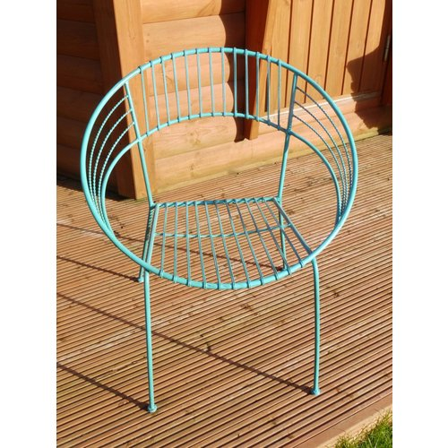 Black Country Metal Works Blue Retro Wrought Iron Bistro Chair - Matching Table Available!