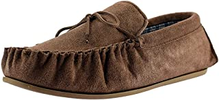 Mokkers Mens Leather Suede Slippers Slip On Moccasin Stitched TPR Sole Shoes Size