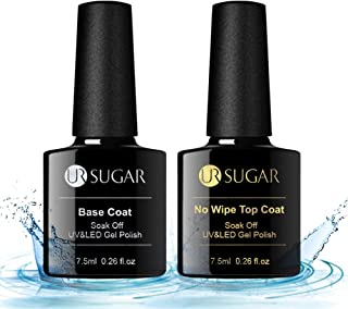 UR SUGAR 7.5ml Gel Nail Polish Top Coat and Base Coat Set UV LED Soak Off No Wipe Top Coat Upgraded Formula Shine Finish and Long Lasting Functional Gel Nail Kit 2 Bottles
