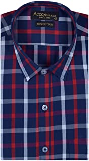ACCOX Men's Half Sleeves Formal Regular Fit Cotton Check Shirt(Multi,GC161)