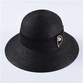 SHENTIANWEI Summer hat Ladies Elegant Dome hat Pearl pin Decorative Basin Cap Sun Visor hat Sun hat (Color : Black)
