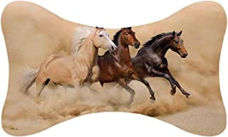 ALUONI Horses Durable Car Headrest Pillow,Three Horse Running in Desert Storm Mythical Mystic Messenger Animals Habitat Print for Car,10.2