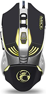Color : Elegant Black+e-Commerce Box Hexiaoyi New Gaming Mouse Wired with Four-Color Breathing Backlight 2400 DPI 6 Buttons Ergonomic Gaming Mouse for PC