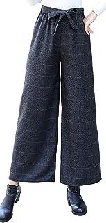 [コウサ] cousa リボン チェック ロング フレア ワイド パンツ ウエストゴム レディース ファッション 春 秋 冬 ボトムス
