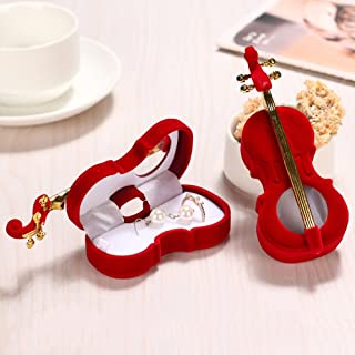 Gotian Newly Creative Guitars Jewelry Box Shape Earrings Bracelet Ring Necklace Storage Box Rack Display Jewelry - Music Style - Flannel Guitar Jewelry Box (Dark RED)