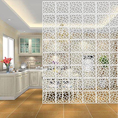 HOTOOLME 12 Stück Weiß DIY Raumteiler Bildschirm aus Holz-Kunststoffplatte Raumtrenner Hängeleinwand Paravent Trennwand für Haus Dekoration(29 x29cm)