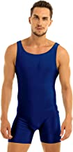 MSemis Men's Leotard Bodysuit Underwear Spandex One-Piece Dance Unitard Biketard Jumpsuit Singlet