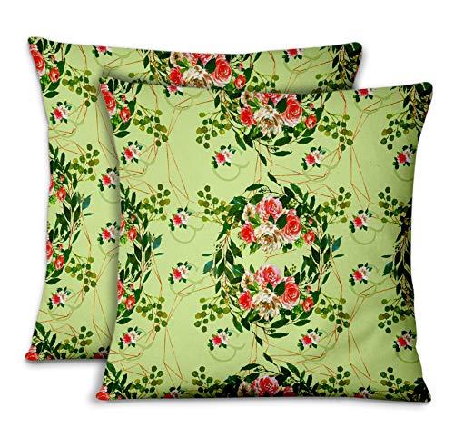 S4Sassy Vert Popeline de Coton Feuilles et renoncules Housse de Coussin Carrie de taie d'oreiller de Jet dicoratif 2pièces-20 x 20 Pouces