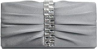 Wiwsi Lady Evening Bridal Clutch Purse Bag Pleated Crystal-Studded Satin Handbag
