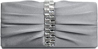 Wiwsi Lady Evening Bridal Clutch Purse Bag Pleated Crystal-Studded Satin Handbag