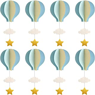 Hot Air Balloon Garland Decorations - 8 Pack Large Size Pastel Cloud Hot Air Balloon 3D Paper Garland Hanging Decorations for Wedding, Birthday, Baby Shower, Christmas Party - Blue