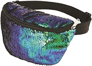 Ladies Single Zip Sequin Bum Bag With Adjustable Strap Womens 80s Pop Stars Holiday Belly Bags Hen Night Party Fanny Packs One Size